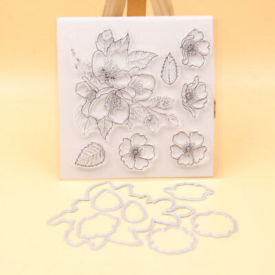 Flower Transparent Clear Silicone Stamp, Cutting Dies Set DIY scrapbooking/photo