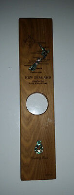 NZ New Zealand wine bottle stand rimu timber & inlaid with paua abalone shell
