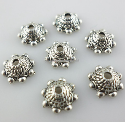 50/100pcs Tibetan Silver 3.5x8.5mm Flower End Bead Caps Crafts Jewelry Making