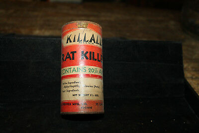 "KillAll Vintage 1940's Rat Killer Poison Sealed NOS 3-1/2"" oz. Paper/Tin Can"
