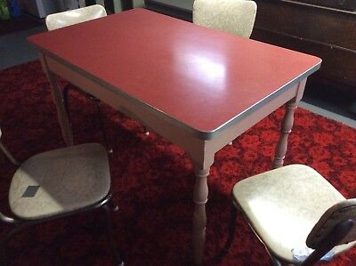 Vintage Formica And Wood Dining Kitchen Table 4 Chairs