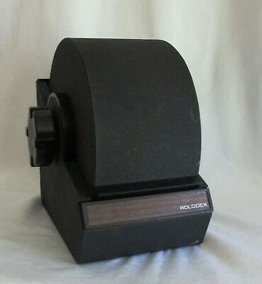 Vintage ROLODEX Large Black Metal Closed Rotary Card File w/Index Cards