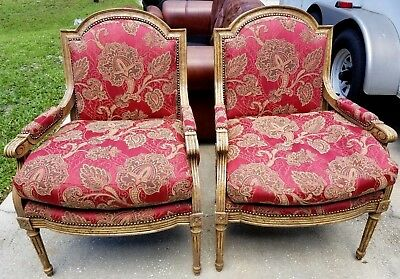 Pair Gorgeous Louis Xvi French Style Arm Chair Decorator Quality Tacking Clean