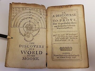 RARE Antique Book - The Discovery Of A World In The Moone, BY WILKINS JOHN -1638