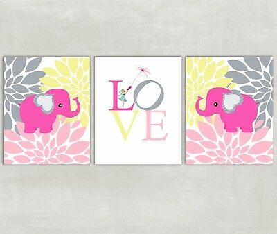 Elephant and Flowers Nursery Wall Art with Love - Set of 3 Prints 8x10