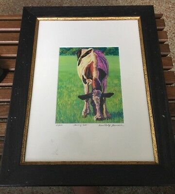 Ellen Marshall Psychedelic Pastoral Cow Print Signed Numbered Framed