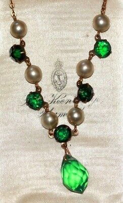 Green crystal drop open back pearl 1930s Art Deco necklace necklet