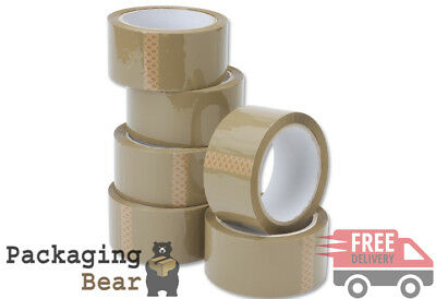 6 x STRONG BROWN BUFF PACKING TAPE 48mm x 50M Rolls PARCEL TAPE