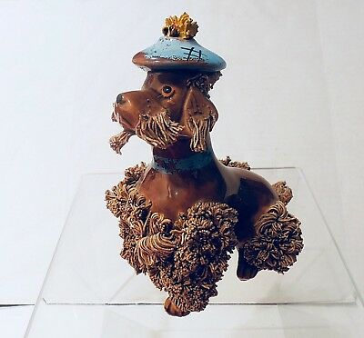Ceramic Poodle  Spaghetti  Porcelain   Dog Seated Figurine  Brown Vintage