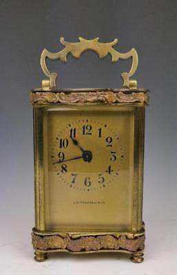 Antique J. E. Caldwell Co. Clock French Carriage Gilt Case Beveled Glass Gilt
