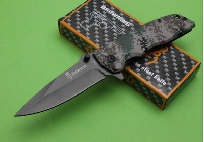 browning DA80 Pocket Folding Knife Stainless Steel Blade and Camouflage Handle