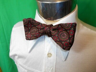 Vintage Red Green Italian Adjustable Pure Silk Bow Tie - Steampunk Prom Formal