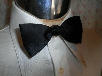 Vintage 1950s 60's Black Clip On Bow Tie Steampunk Prom Formal Vegas Tuxedo