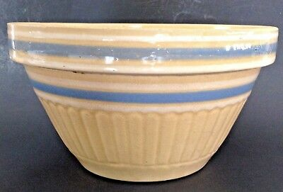 Antique Vtg Yellow Ware Mix Bowl Light Blue White Bands Stripes Crock Primitive