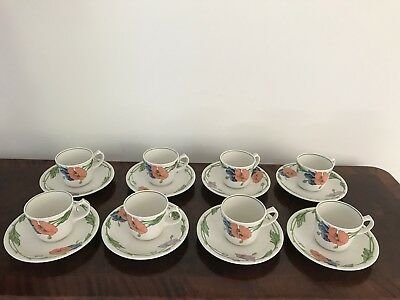 Villeroy Boch Amapola Set of 8 Cups And Saucers