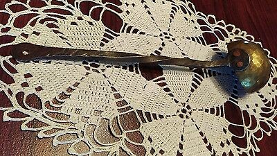 Antique 19th C Hammered Brass Twisted Cast Iron Tasting Ladle