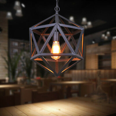Rustic Industrial Cage Pendant Lamp Vintage Suspension LED Ceiling Light Fixture