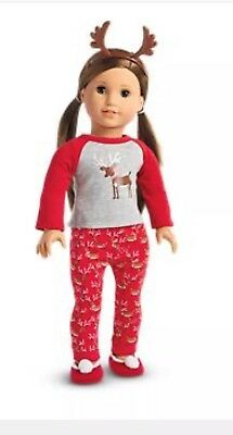 NEW American Girl Doll Truly Me Festive Reindeer PJs For 18 Inch Dolls Holiday