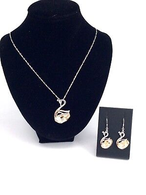 Swan Set Topaz Pendant and Earrings Sterling Silver - House of Hollis Jewellery
