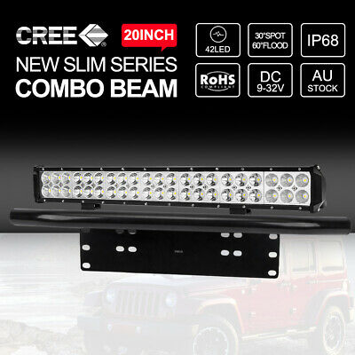 "20inch 126000LM CREE LED Light Bar Spot Flood + 23"" Black Number Plate Frame"