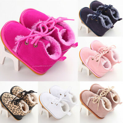 Baby Shoes Girls Cute Newborn Infant Winter Warm Bow Baby Soft Bottom First Walk