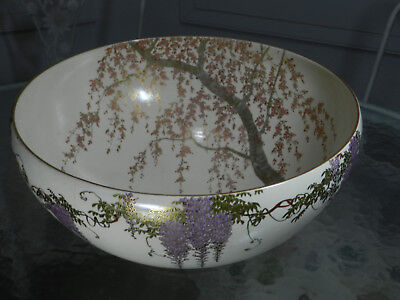 Japanese Satsuma Punch Bowl Punchbowl signed Senzan, Meiji period 12""