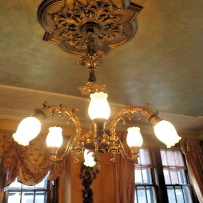 ANTIQUE French?  Vintage Chandelier 6 Lights Bronze gold RARE