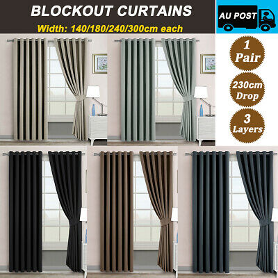 2X Blockout Curtains Eyelet Blackout Pure Fabric Panels 3 Layers Room Darkening