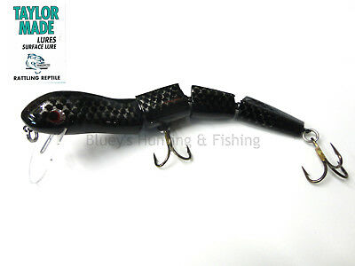 Taylor Made Rattling Reptile 180mm cod surface wake bait jointed Lure Black