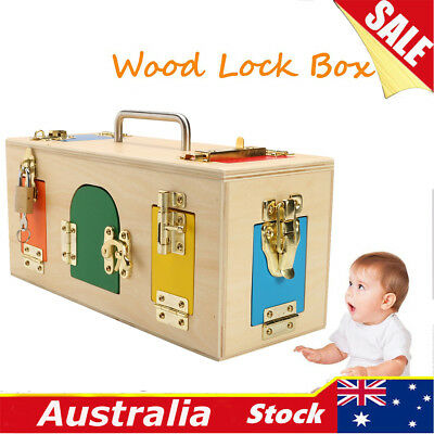 31.2x12x13.6cm Wooden Material Montessori Little Lock Box Kids Educational Toy