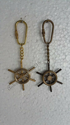 Pair Of Nautical Solid Brass And Antique Finish Key Chains Best Quality Gift ..