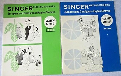 SINGER Knitting Machine PATTERN BOOKS x 2 - Cardigans, Jumpers- Kids & Adults