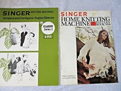 SINGER Knitting Machine PATTERN BKS x 2 - Cardigans, Jumpers, Dress, Gown, Suit