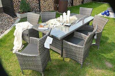 lounge poly rattan gartenm bel sitzgruppe essgruppe gartensofa gartenset grau eur 899 10. Black Bedroom Furniture Sets. Home Design Ideas