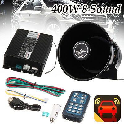 400W 8 Sound Loud Car Warning Alarm Set Police Fire Siren Horn Remote MIC System