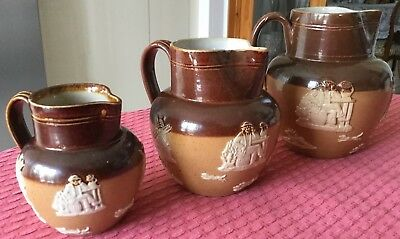 Set Of 3 Antique Royal Doulton Jasperware Jug / Pitcher 2892 C.1902 - 1922