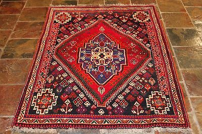 QASHQAI 80's 161X118 GENUINE HAND KNOTTED TRIBAL PERSIAN  RUG/ THICK PILE