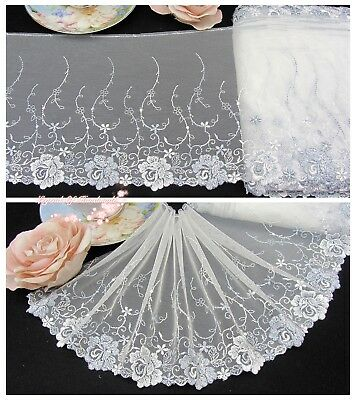 "7""*1Y Embroidered Floral Tulle Lace Trim~Ivory White+Light Gray~Rose Petal~"
