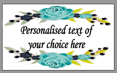 Blue Flowers Personalised Self Adhesive Labels with FREE protective wallet