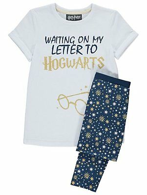 Harry Potter Hogwarts Slogan Pyjamas Girls Short Sleeve Pyjama Set  6-7 Years