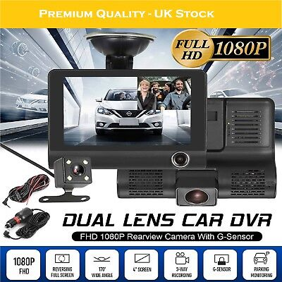 "1080P Car DVR 4"" 3 Lens Dash Cam Front and Rear Video Recorder Camera G-sensor"