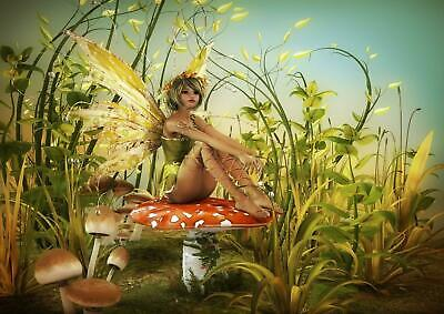 Green Fairy Woodland Fantasy Girls Bedroom Giant Poster - A4 A3 A2 A1 Sizes