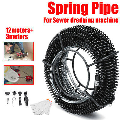 Plumber Drain Snake Pipe Pipeline Sewer Cleaner +Spring + 6 Drill Bit for Clean