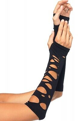 Leg Avenue Distressed Goth Fingerless Elbow Length Arm Warmers/Gauntlets Gloves