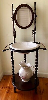 Victorian Antique Wooden Basin Stand With Mirror And Candle Holders