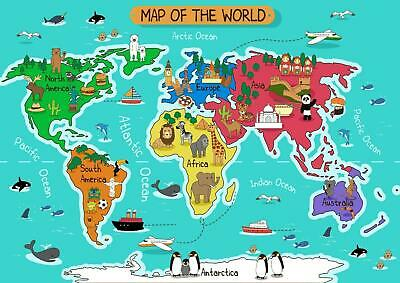 Cartoon Animal World Map Kids Bedroom Giant Poster - A4 A3 A2 A1 Sizes