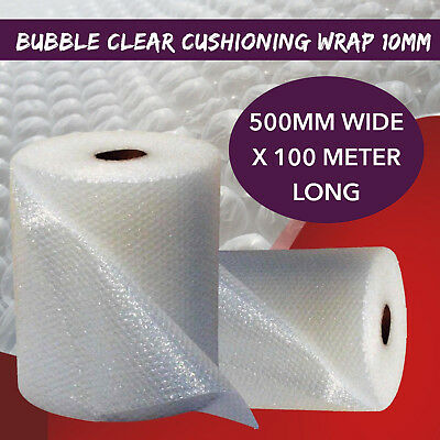 Bubble Cushioning Packaging Wrap 500MM Wide x 100M Roll Clear 10mm Bubbles