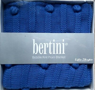 Blue Baby blanket Bertini Bobble Knit 100% Cotton Pram Stroler Cot Liner rug