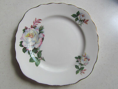 Royal Vale Bone China Side Plate - White/Pink Roses Design A 4 Made in England