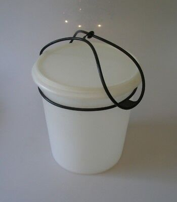 Large Vintage Round Tall Tupperware Sheer Container With Lid Black Handle 255-6